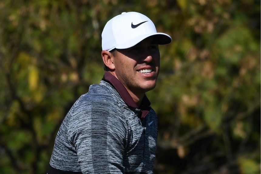 Brooks Koepka tees off on the third hole during the third round of the CJ Cup golf tournament at Nine Bridges golf club in Jeju Island, on Oct 20, 2018.