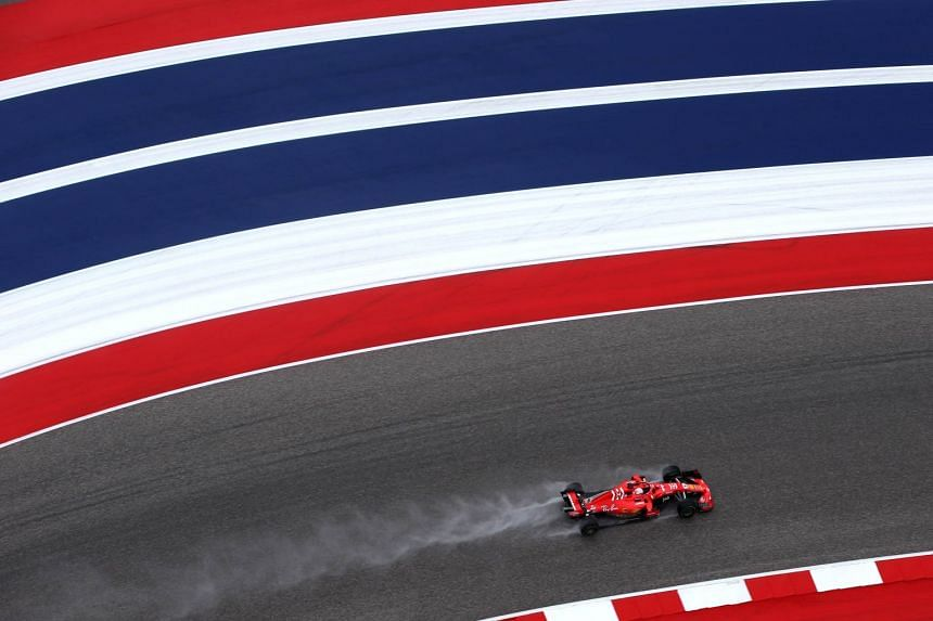 Vettel on the track during practice for the US grand prix.