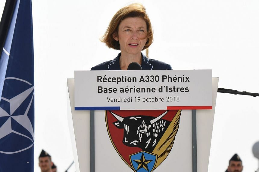 Parly gives a speech at the Istres military base in southern France, on Oct 19, 2018.