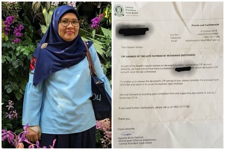 Housewife Rahayu Mazlan, 51, received a letter from the Central Provident Fund Board on an outstanding balance in her late mother's account - 31 years after the death.