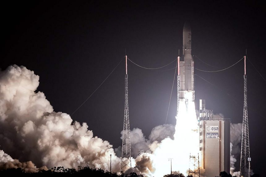 An Ariane 5 lifts off from its launchpad in Kourou, at the European Space Center in French Guiana, on Oct 19, 2018.