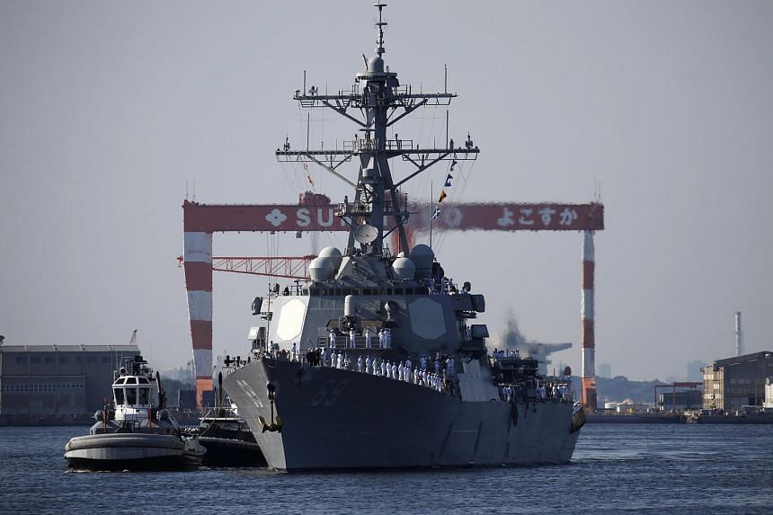 File photo showing an American destroyer at a US naval base in Yokosuka, Japan, on May 22, 2018.