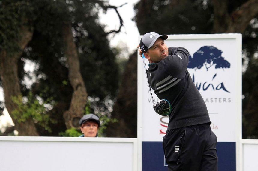 Garcia tees off during the third round.