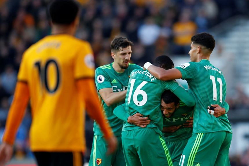 Watford's Etienne Capoue celebrates scoring their first goal with team mates.