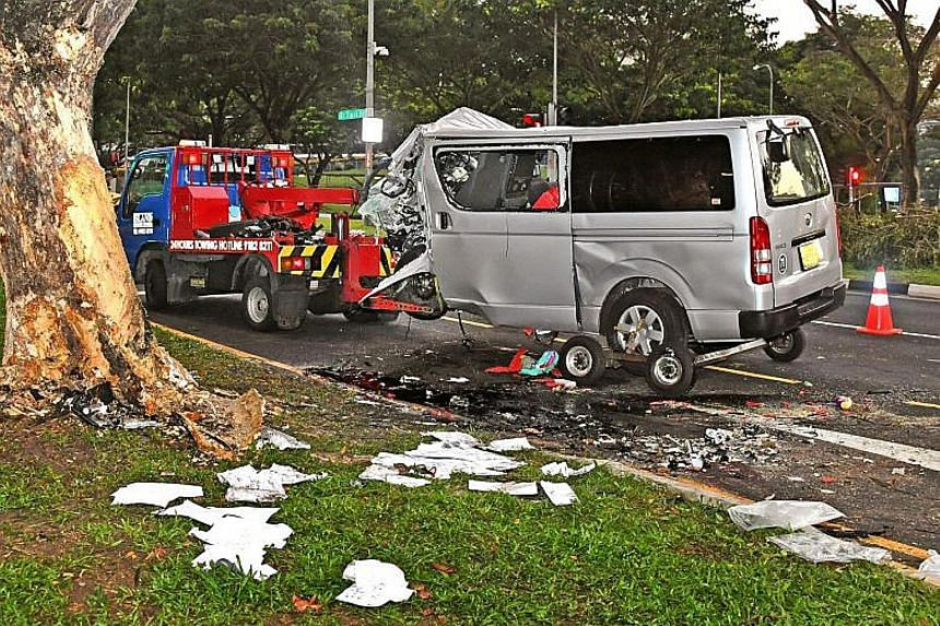 An eyewitness said a van mounted the kerb in Bukit Timah Road and crashed near KK Women's and Children's Hospital yesterday.