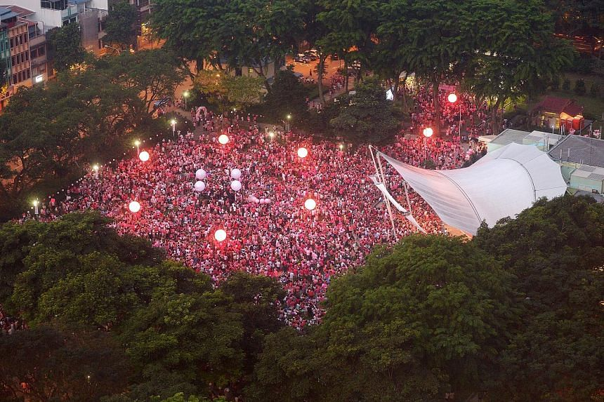 Participants with lighted torches at a Pink Dot event in Hong Lim Park. The writer says that perhaps more people support decriminalisation while fewer would agree on gay marriage. There might well be differences on this, even among the lesbian, bisex