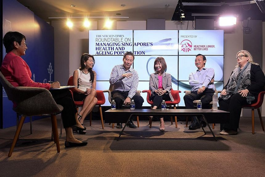 The roundtable sponsored by AIA and held at the SPH Digital Studio was moderated by journalist Salma Khalik (left). The panellists were (from left) Ms Melita Teo, Dr Jeremy Lim, Dr Amy Khor, Professor Chia Kee Seng and Ms Sigal Atzmon.