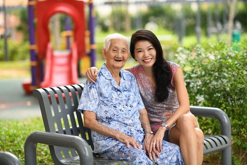 AIA chief operating officer Melita Teo, and her grandmother Tan Chwee Cheng, 104. Madam Tan still enjoys her favourite food, and she eats chocolates and sweets every day, as well as drinking a glass of fortified wine. She remains active, spending two