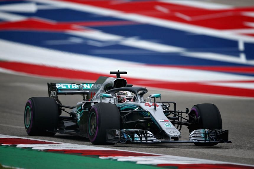 Hamilton on the track during qualifying for the United States Formula One Grand Prix.
