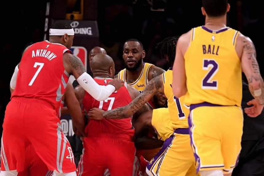 Houston Rockets' Chris Paul and Los Angeles Lakers' Rajon Rondo were the main combatants trading blows after Paul stuck his finger in Rondo's face and pushed him hard.