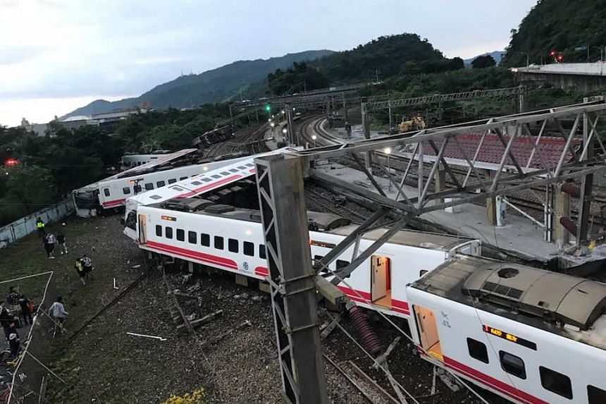 The train went off the tracks between the Dongshan and Suxin stations at about 5pm on Oct 21, 2019.