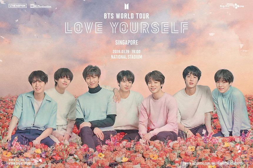 Ticket sales for K-pop boyband BTS, which will be performing in Singapore on Jan 19, 2019, will go on sale from Oct 27, 2018.