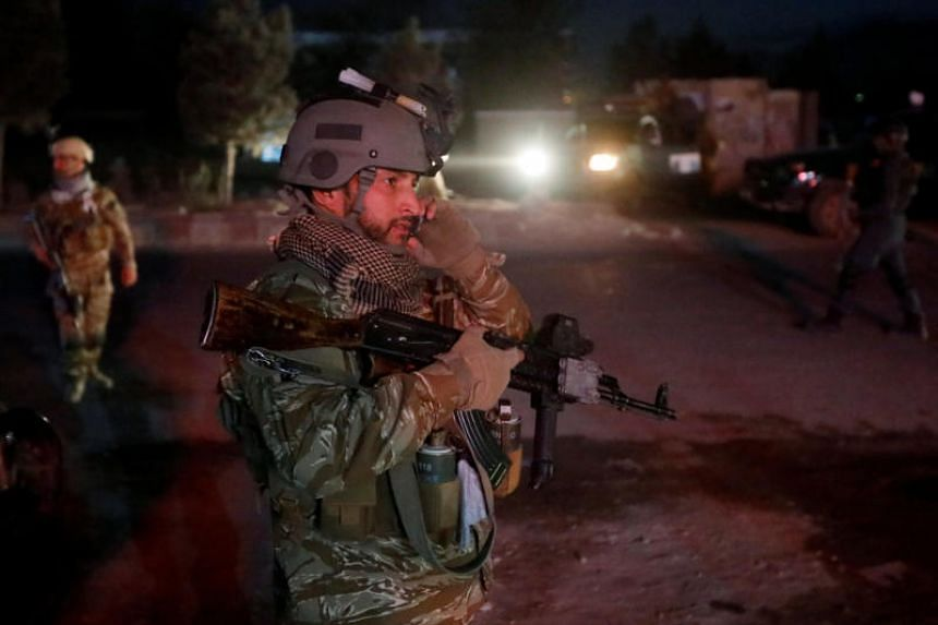 Afghan security forces arrive at the site of a suicide attack in Kabul, Afghanistan, on Oct 20, 2018.