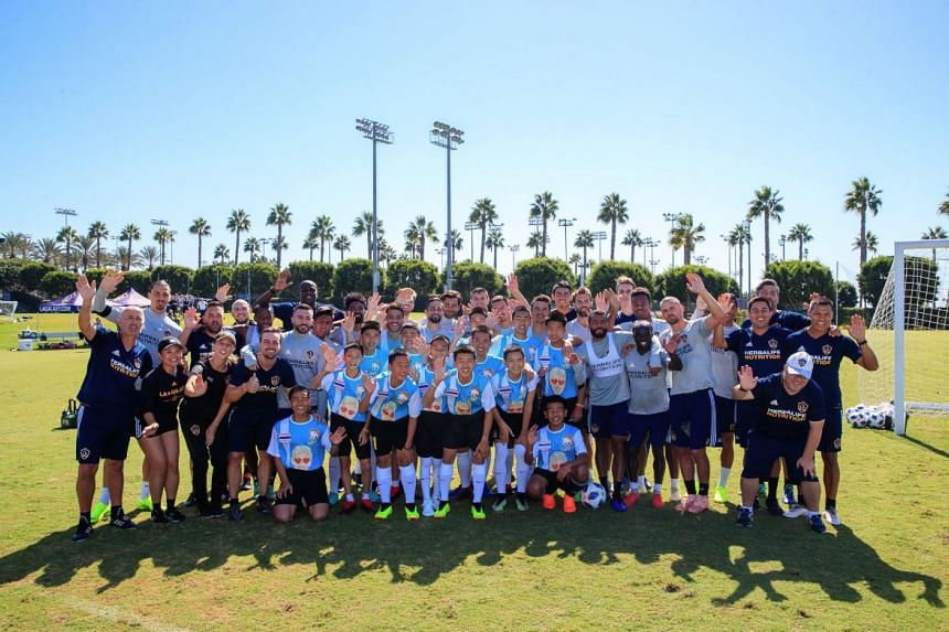The Wild Boars team trained with the Los Angeles Galaxy and their star striker Zlatan Ibrahimovic on Oct 19, 2018.