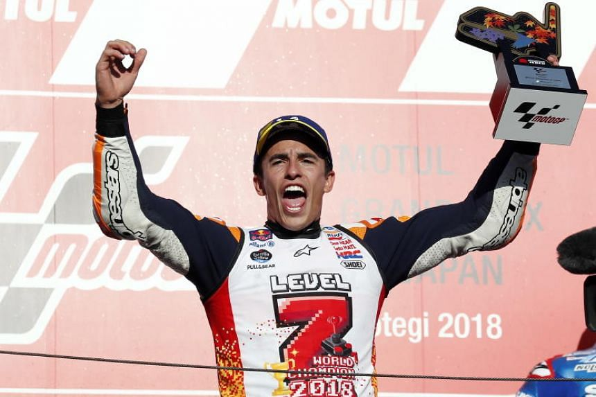Marc Marquez has now won seven world titles in total after also winning the 125cc championship in 2010 and the Moto2 crown in 2012.