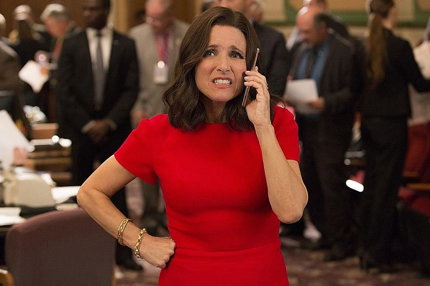 Julia Louis-Dreyfus in a sixth-season episode of Veep, for which she has won six consecutive Emmy Awards. She is lauded as one of the biggest and most successful sitcom stars.