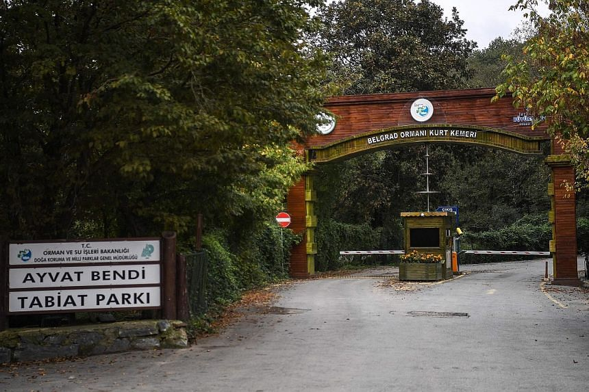 The main gate of Istanbul's Belgrad forest, which was searched by Turkish police. They believe the body of Saudi journalist Jamal Khashoggi may have been disposed of there. Turkish officials have accused Riyadh of carrying out a state-sponsored killi