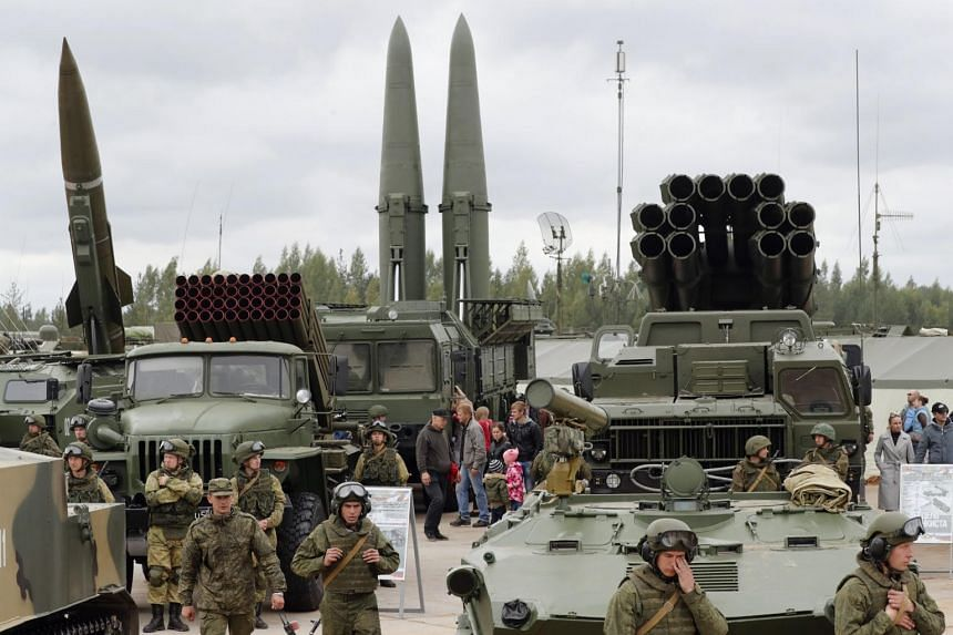 Russian missiles at an exhibition in St. Petersburg on Sept 9, 2017. The United States said it wants to withdraw from the Intermediate-Range Nuclear Forces Treaty with Russia.