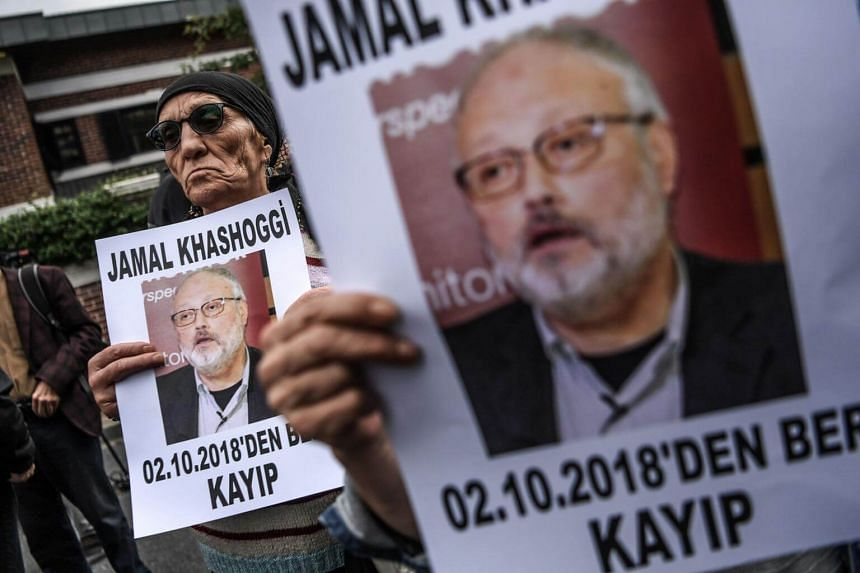 Protesters holding portraits of journalist and Riyadh critic Jamal Khashoggi during a demonstration in front of the Saudi Arabian consulate in Istanbul, on Oct 9, 2018.