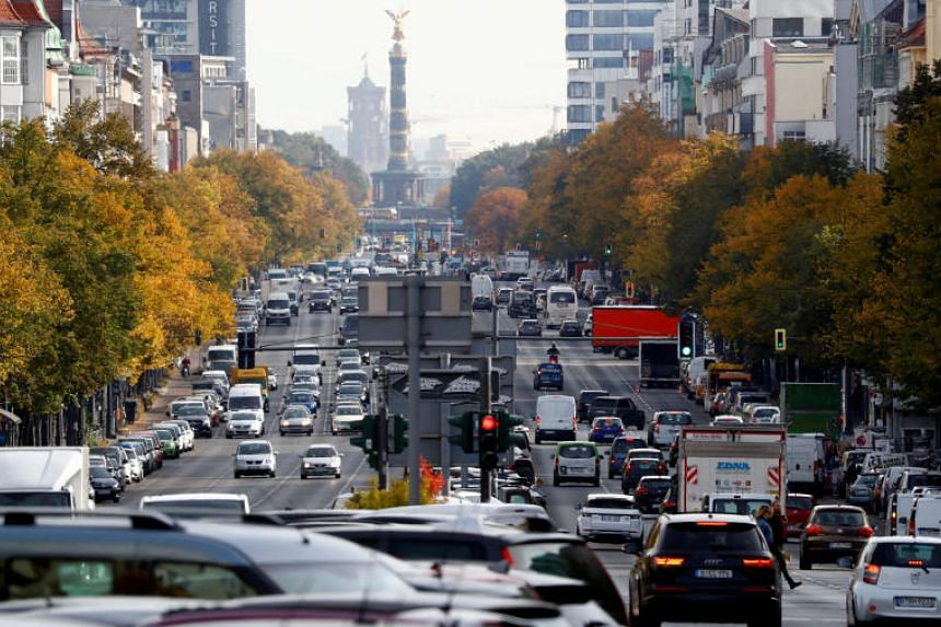 Cars are seen at Kaiserdamm street in Germany, on Oct 8, 2018.