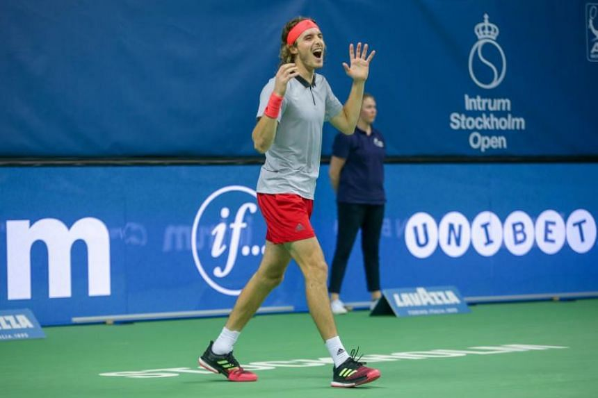 Greece's Stefanos Tsitsipas reacts after wining the ATP Stockholm Open tennis tournament on Oct 21, 2018 at the Royal Tennis Hall in Stockholm.