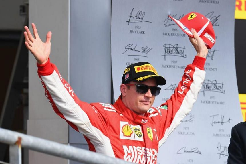 Race winner Kimi Raikkonen of Finland and Ferrari celebrates on the podium during the United States Formula One Grand Prix at Circuit of The Americas on Oct 21, 2018 in Austin, United States.