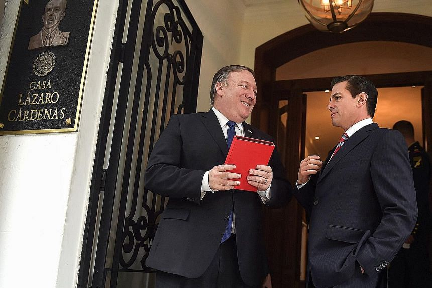 "US Secretary of State Mike Pompeo (left) meeting Mexican President Enrique Pena Nieto at the Los Pinos presidential residence in Mexico City last Friday. Mr Pompeo was on a Latin America tour at the end of last week, and told reporters that ""when Chi"