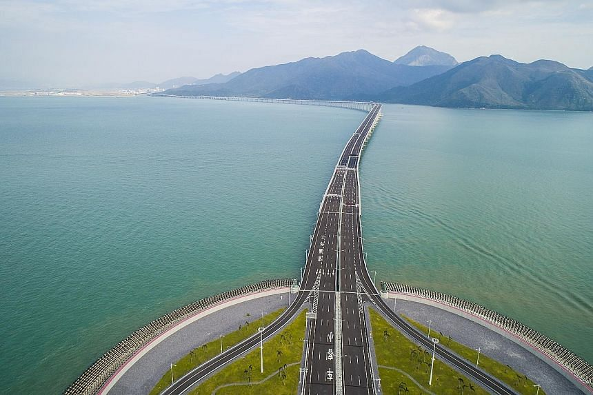 The Hong Kong-Zhuhai-Macau bridge, as seen from the Hong Kong side of the crossing. The Hong Kong section of the bridge is made up of an artificial island on the eastern end, where the Hong Kong border control is located, as well as a 12km Hong Kong