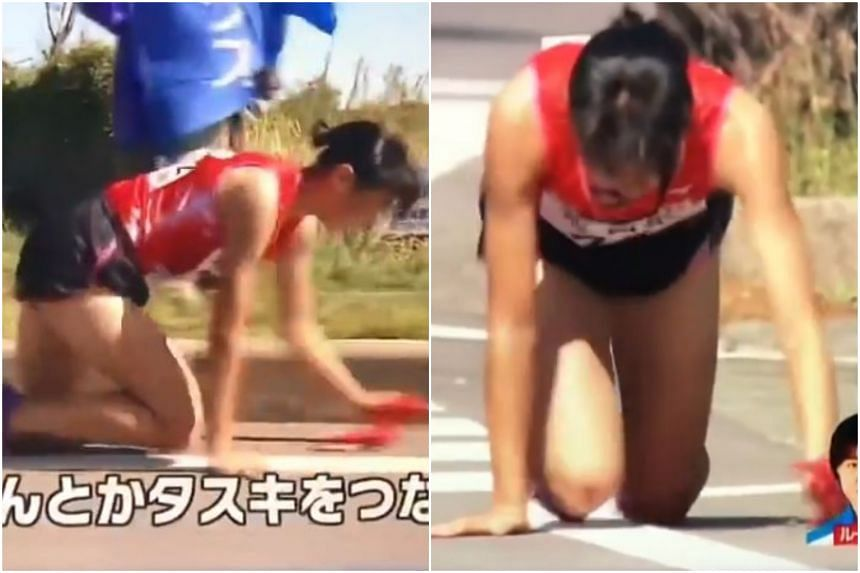 Japanese Rei Iida was participating in the Princess Ekiden relay race in Fukuoka prefecture, when she tripped and suffered a serious leg injury.