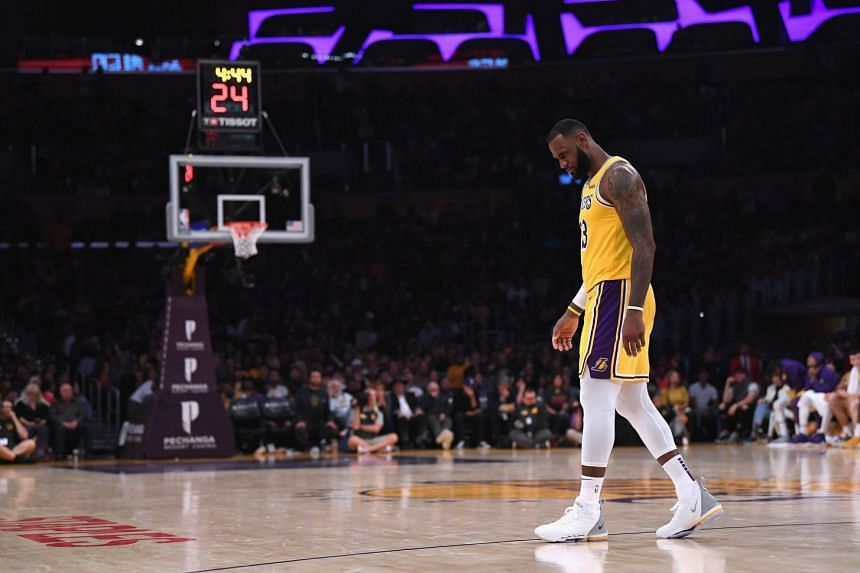 LeBron James of the Los Angeles Lakers during a 143-142 loss to the San Antonio Spurs at Staples Center on Oct 22, 2018.