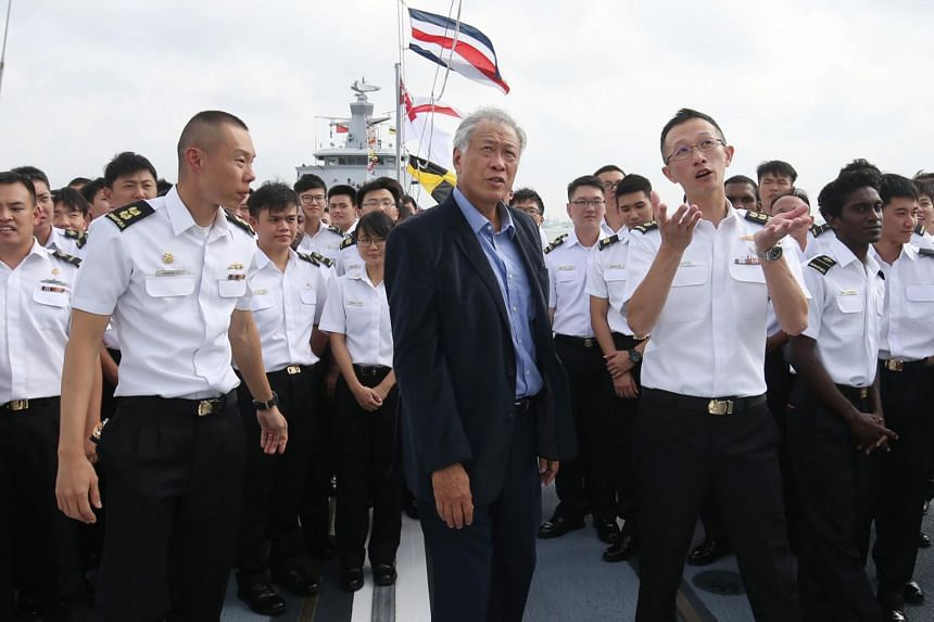 Defence Minister Ng Eng Hen visiting the Asean-China Maritime Exercise in Zhanjiang, China, on Oct 23, 2018.