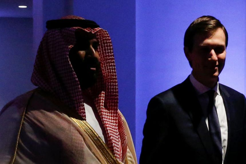 Saudi Arabia's Deputy Crown Prince Mohammed bin Salman escorts White House senior advisor Jared Kushner at the Global Center for Combatting Extremist Ideology in Riyadh, Saudi Arabia, on May 21, 2017.