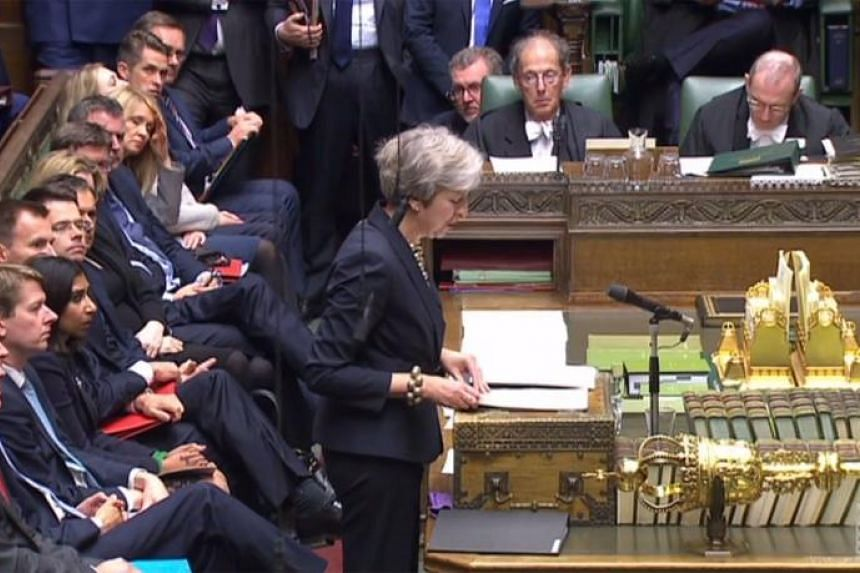 Britain's Prime Minister Theresa May making a statement to members of parliament in the House of Commons in London, on Oct 22, 2018.