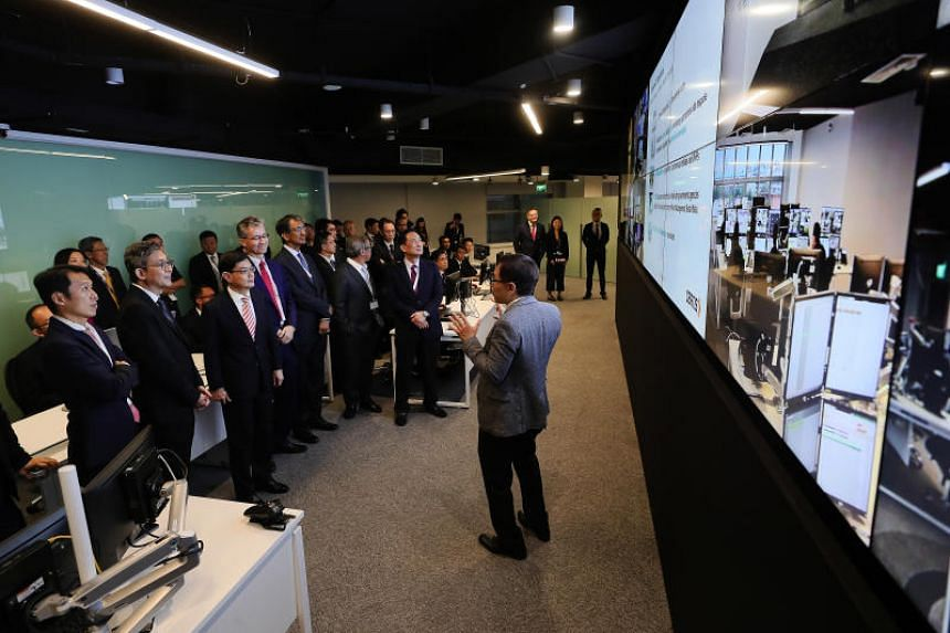 Finance Minister Heng Swee Keat visiting the Integrated Operations Centre in the newly launched Certis Commonwealth building on Oct 23, 2018.