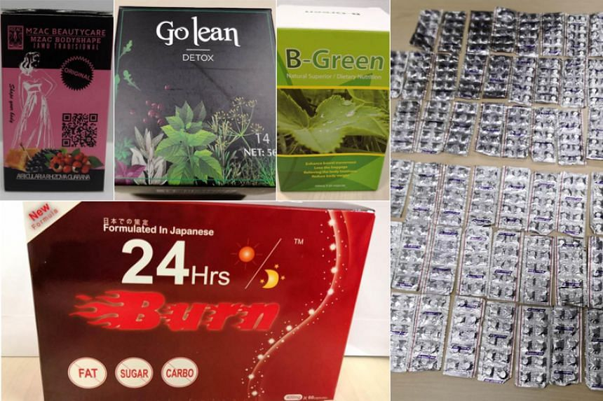 (Clockwise from top left) Mzac Bodyshape Jamu Tradisional, Go Lean Detox, B Green Slimming Capsule, modafinil and 24 Hrs Burn were among the health products seized during Operation Pangea.