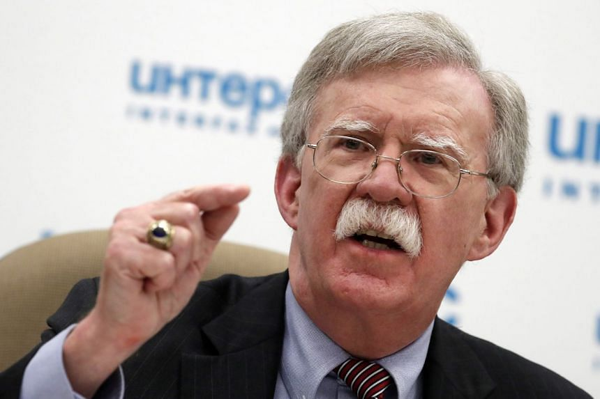 Bolton speaking during a press conference in Moscow, Russia, Oct 23, 2018.