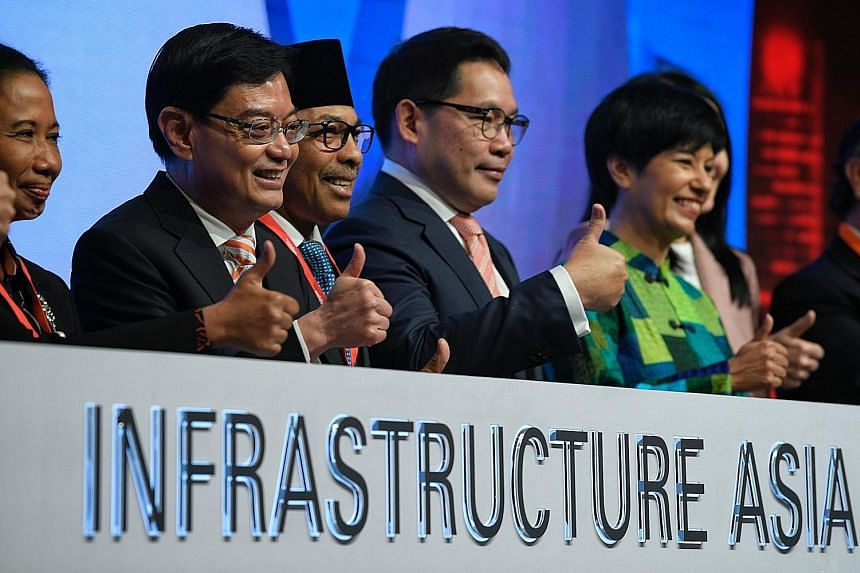 (From left) Indonesia's Minister of State-Owned Enterprises Rini Mariani Soemarno; Finance Minister Heng Swee Keat; Brunei's Minister of Development Haji Suhaimi; Thailand's Minister of Industry Uttama Savanayana; and Ms Indranee Rajah, Minister in t