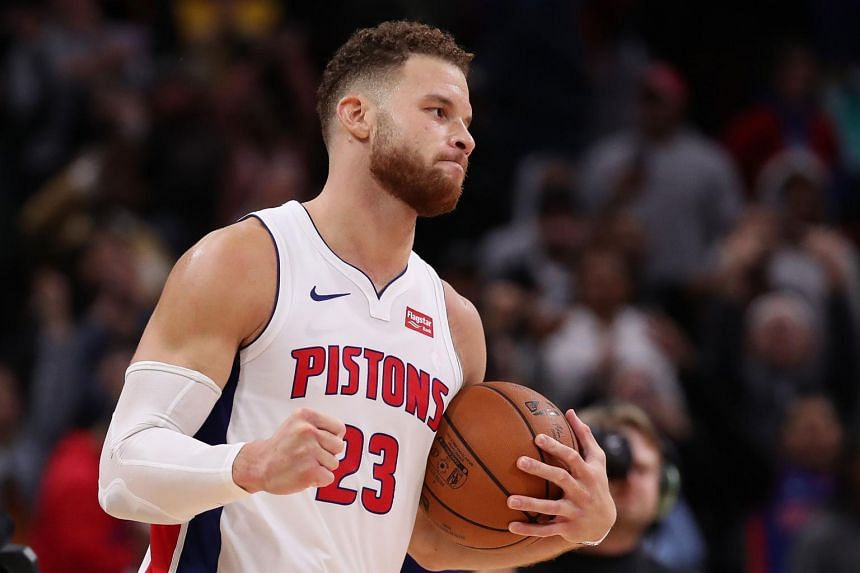 Blake Griffin of the Detroit Pistons celebrates a 133-132 overtime win over the Philadelphia 76ers at the Little Caesars Arena on Oct 23, 2018.
