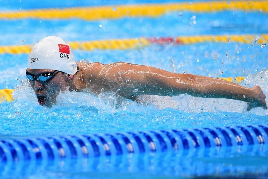 China's Li Zhuhao competes in the final of the men's 100m butterfly swimming event during the 2018 Asian Games in Jakarta on Aug 22, 2018.