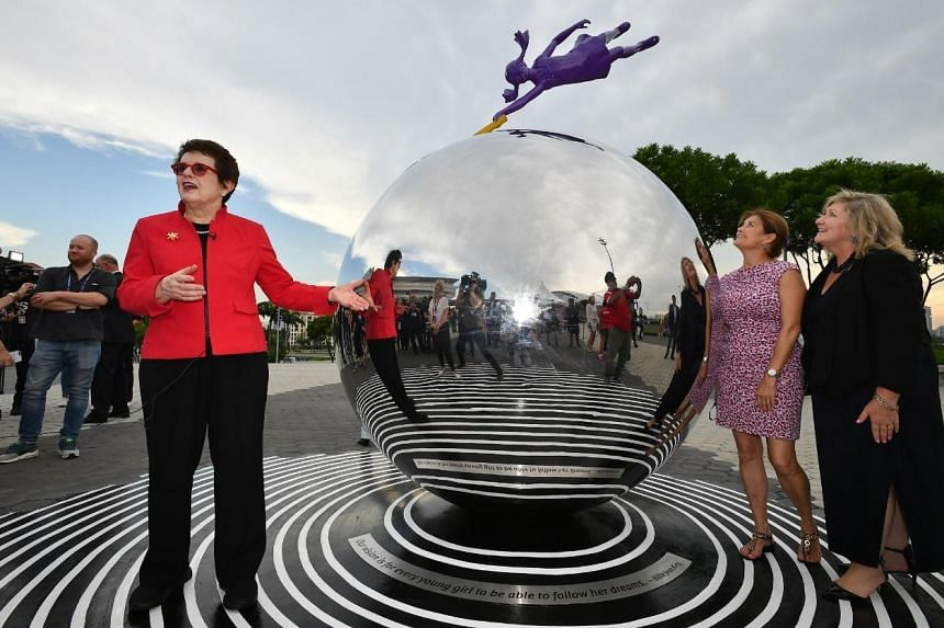 (From left) Billie Jean King at the unveiling of the monument, Dream, with Senior Director of Athlete Assistance, Women's Tennis Association (WTA), Kathy Martin and Supervisor of Operations, Member Relations, WTA, Donna Kelso at the Singapore Indoor