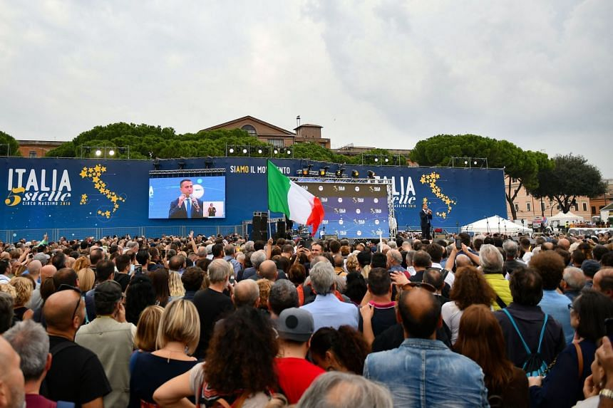 Italy's Vice-Premier and the leader of the anti-establishment Five Star Movement, Mr Luigi Di Maio, speaking at a convention of the governing coalition's populist movement, on Oct 21.
