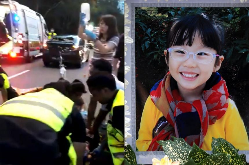 Four-year-old Eleanor Tan Si Xuan (right) died as a result of an accident (left) in Bukit Batok Central last year.