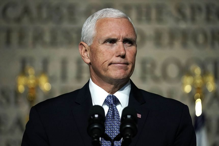 Pence addressing the National Space Council in Washington.