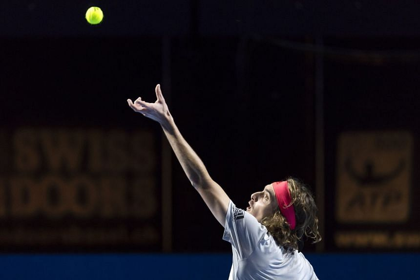 Tsitsipas in action during his second-round match against Germany's Peter Gojowczyk.