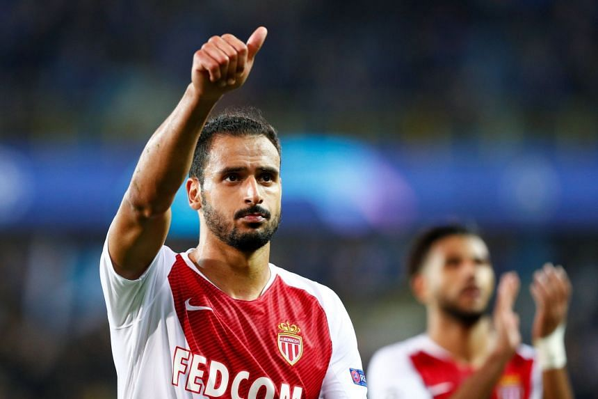 Monaco's Nacer Chadli applauds the fans after the match.