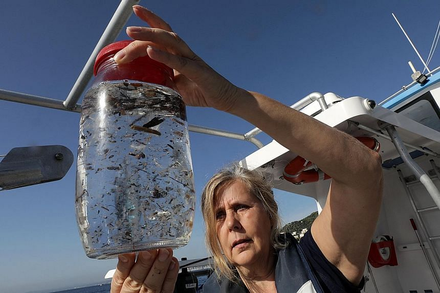 Marine biologist Maria-Luiza Pedrotti, who specialises in microplastics, looking at a sample from the Mediterranean Sea in the French Riviera last week.