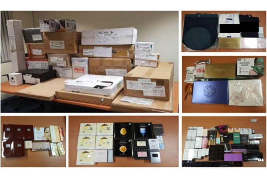 Mobile phones, a desktop computer, an assortment of branded cosmetics, handbags, apparel and several boxes of electronic and electrical items were seized during the arrest.