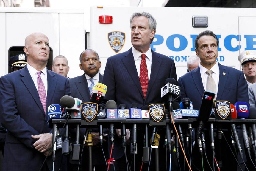 New York Mayor Bill de Blasio (centre) speaking at a press conference at the scene where an explosive device was found at the CNN's offices in New York, on Oct 24, 2018.