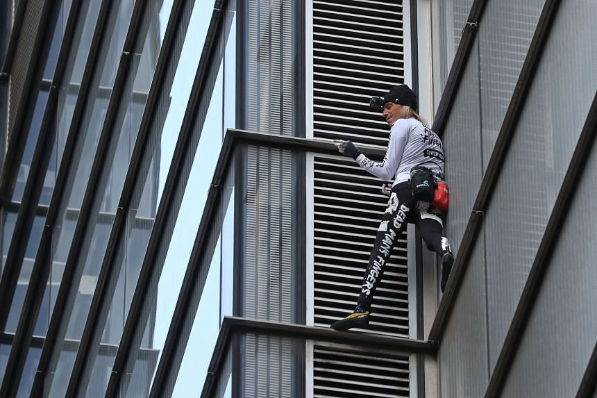Robert climbing Heron Tower in central London on Oct 25, 2018.