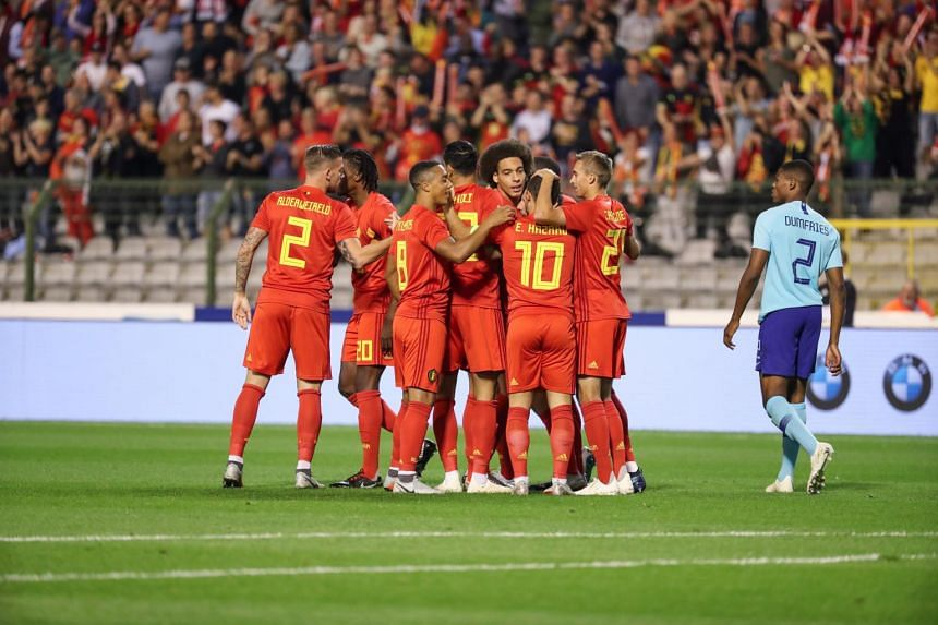 Belgium soccer team react after they scored 1-0 during a friendly soccer match between Belgium and Netherlands at the King Baudouin stadium in Brussels, Belgium, on Oct 16, 2018.